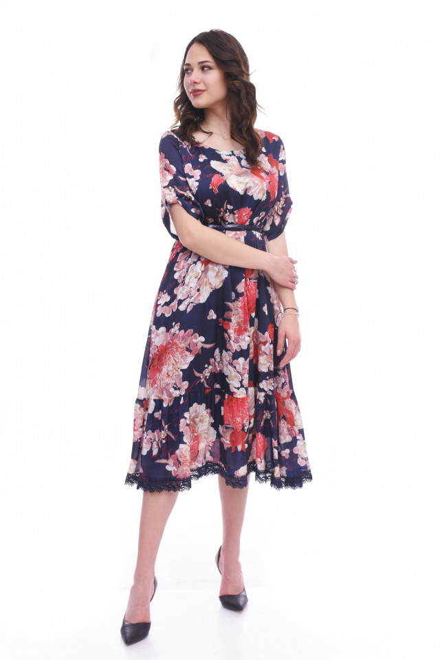 Rochie midi eleganta cu imprimeu floral