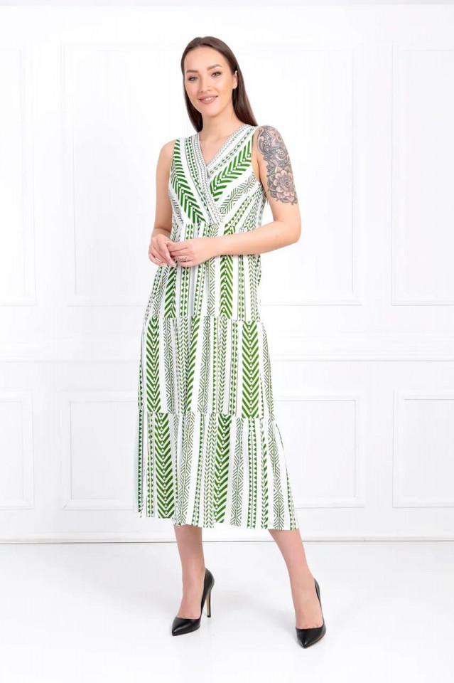 Rochie midi lejera cu imprimeu - Anisia- verde-E