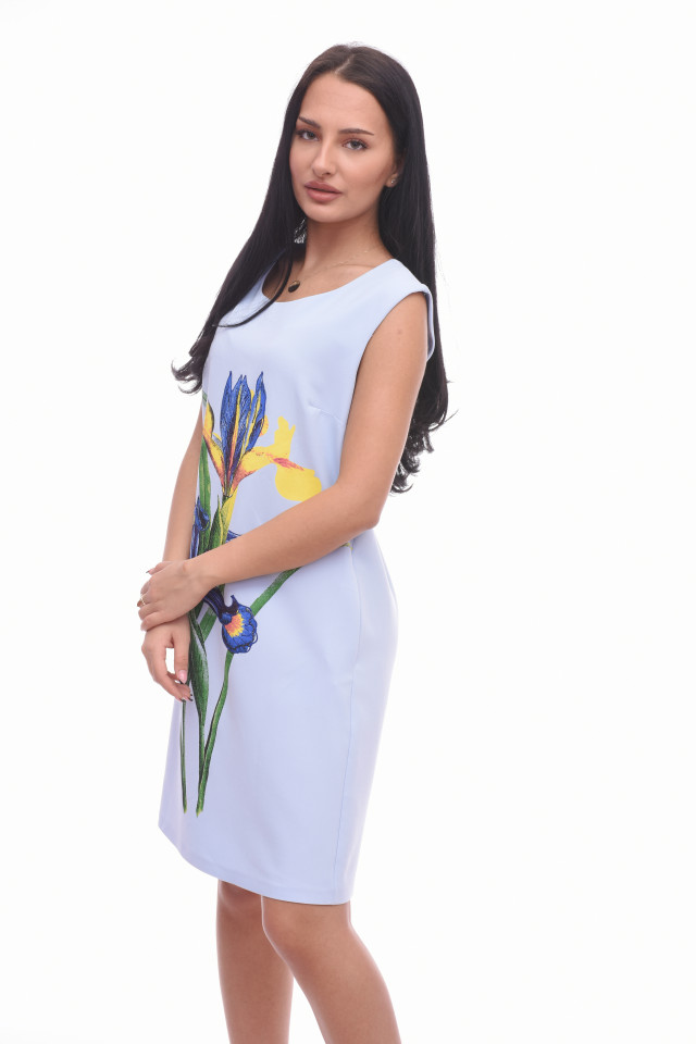 Rochie mini eleganta bleo cu imprimeu floral