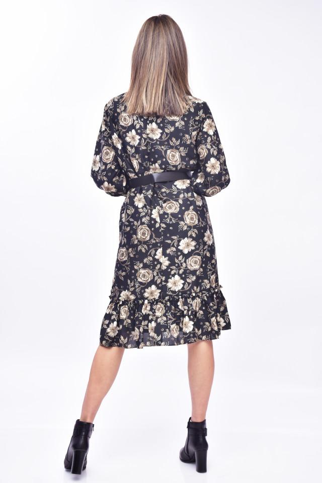 Rochie mini eleganta cu imprimeu floral - negru