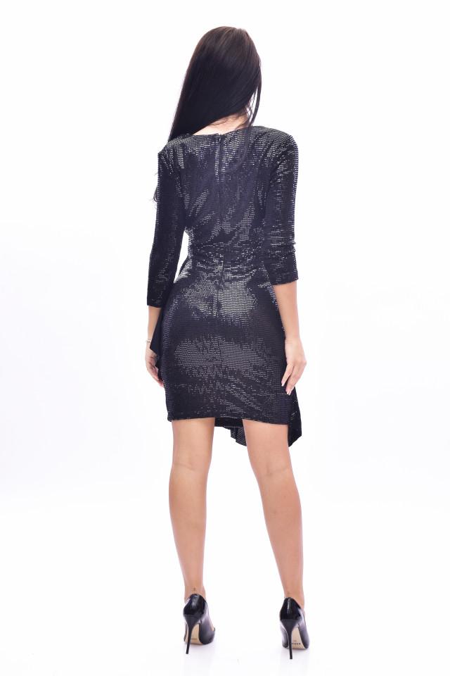 Rochie mini eleganta cu paiete si volane - negru