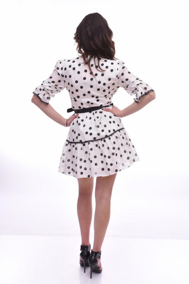 Rochie mini eleganta cu volane si imprimeu buline
