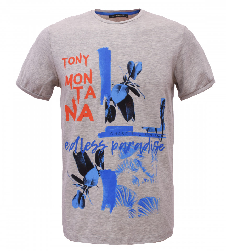 Tricou Casual Barbati Slim Fit Tony Montana- Endless Paradise - gri