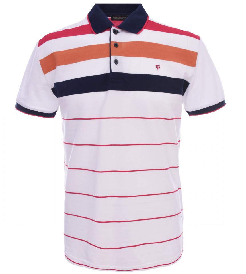 Tricou Polo Barbati Regular fit Tony Montana cu dungi - alb/portocaliu