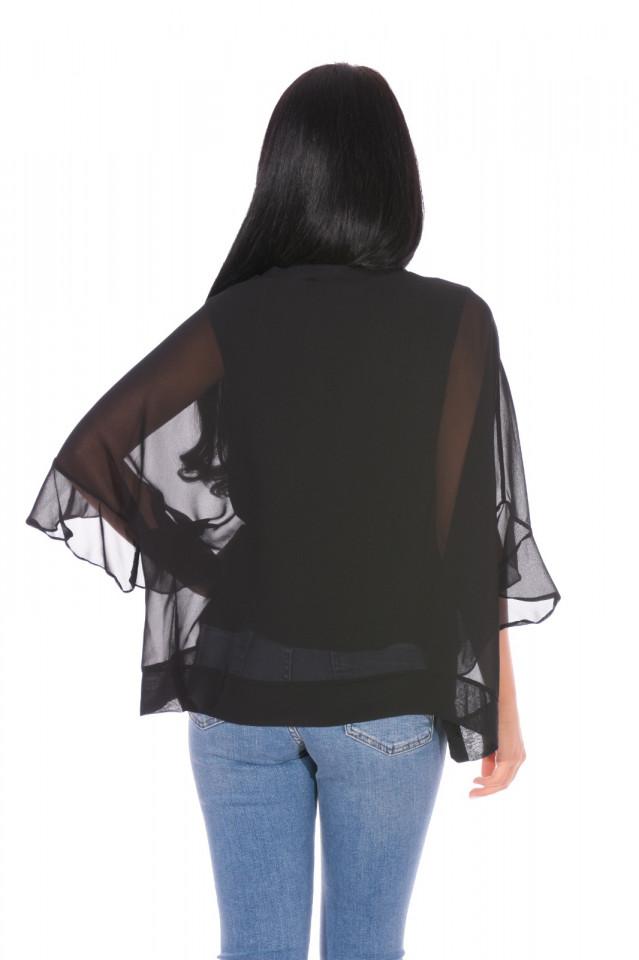 Bluza eleganta cu un croi mulat suprapunere cu voal-negru-