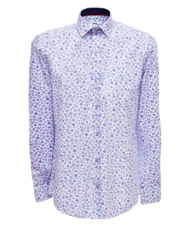 Camasa barbati cu imprimeu floral- alb & bleu-