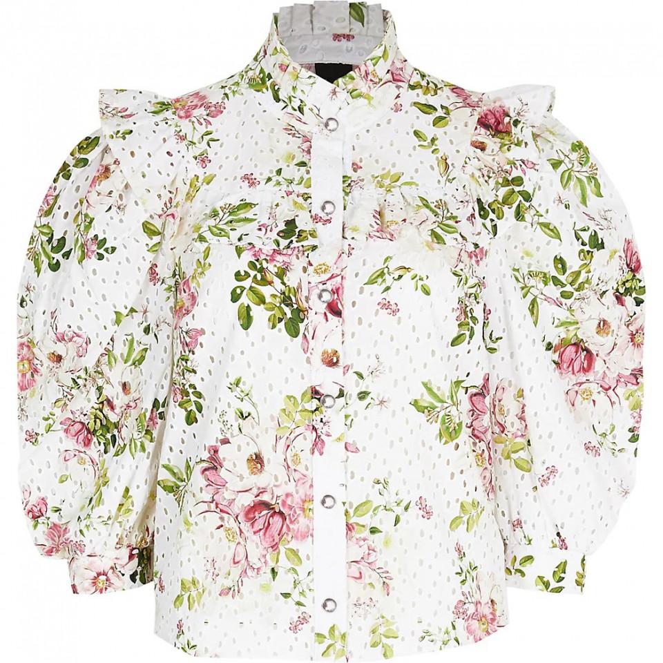 Camasa brodata cu imprimeu floral si maneci bufante-E-