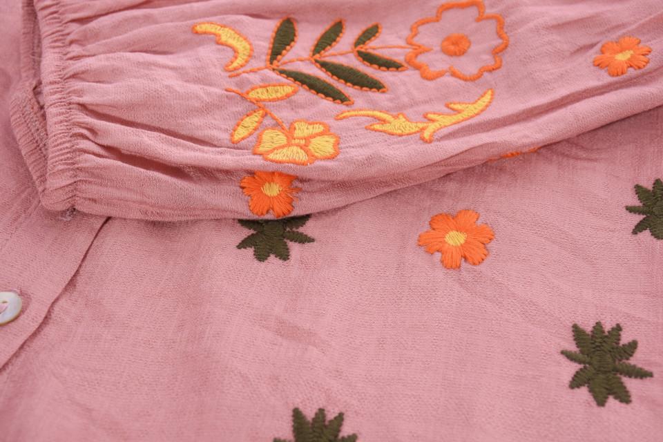 Camasa dama cu broderie florala -roz-