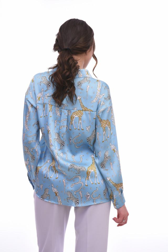 Camasa satinata cu imprimeu KAROL- albastru