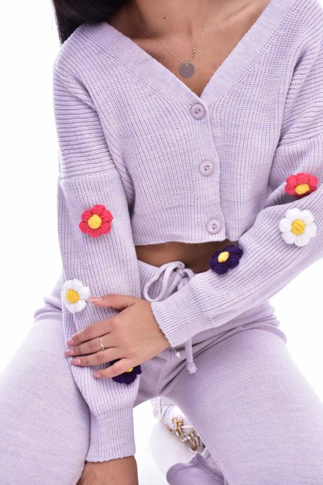 Compleu dama Gia din tricot - doua piese- lila
