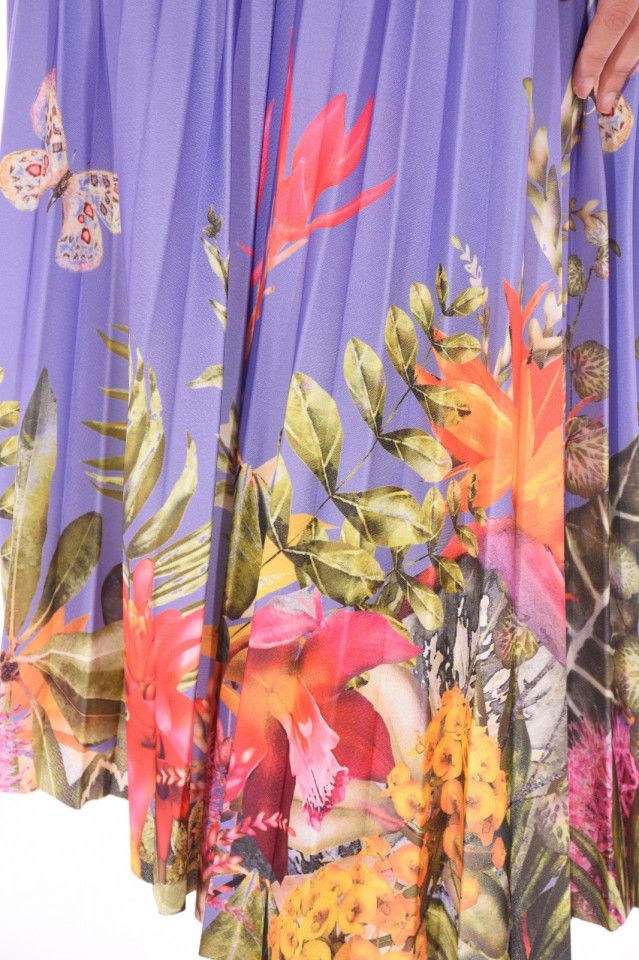 Fusta midi plisata cu imprimeu floral -E-