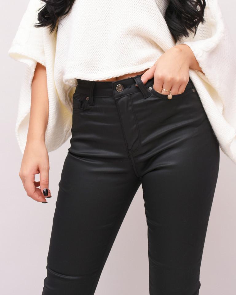 Pantaloni casual din piele ecologica