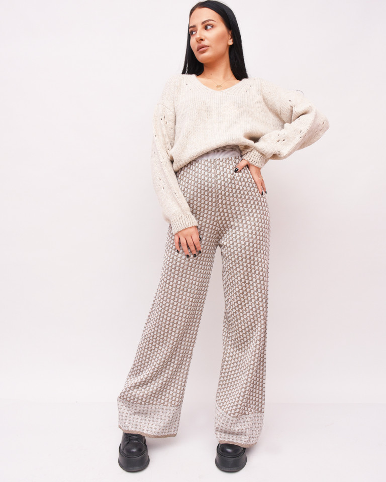Pantaloni largi din tricot-gri-
