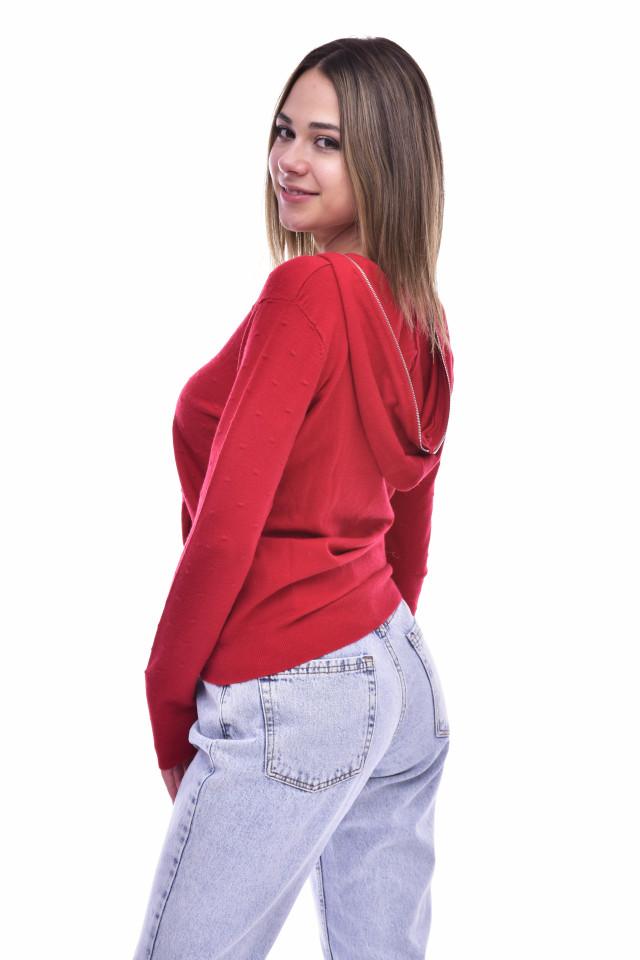 Pulover cu gluga din tricot fin -grena