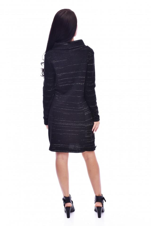 Rochie dama din tricot cu fir metalizat si accesoriu
