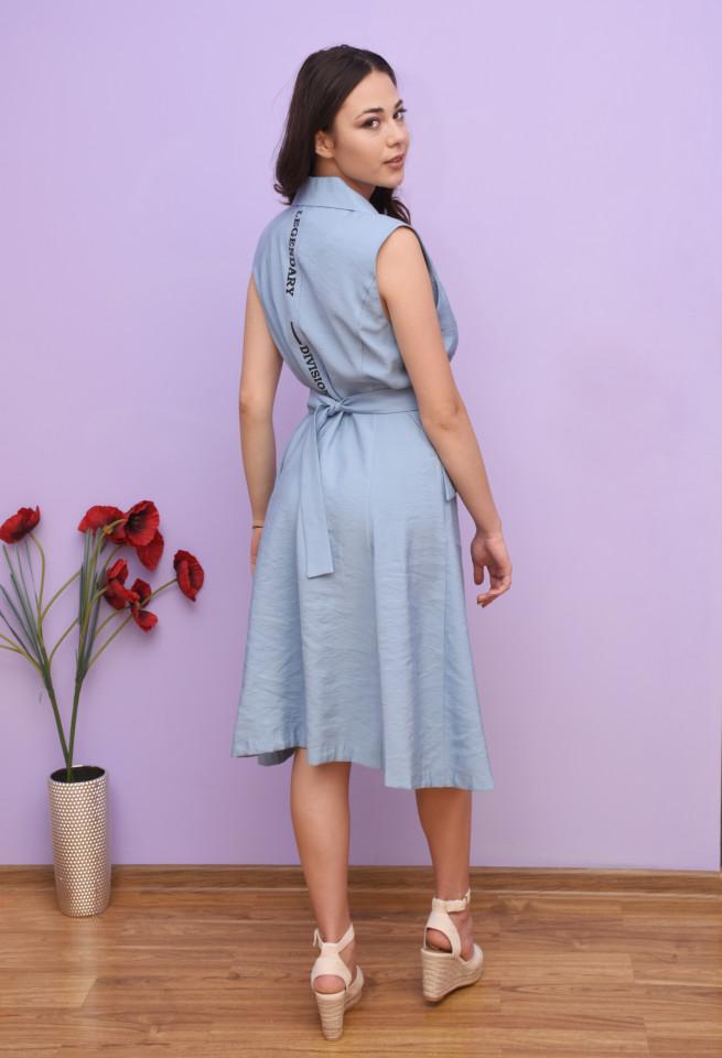 Rochie dama midi stil trench cu imprimeu - Camila - albastru