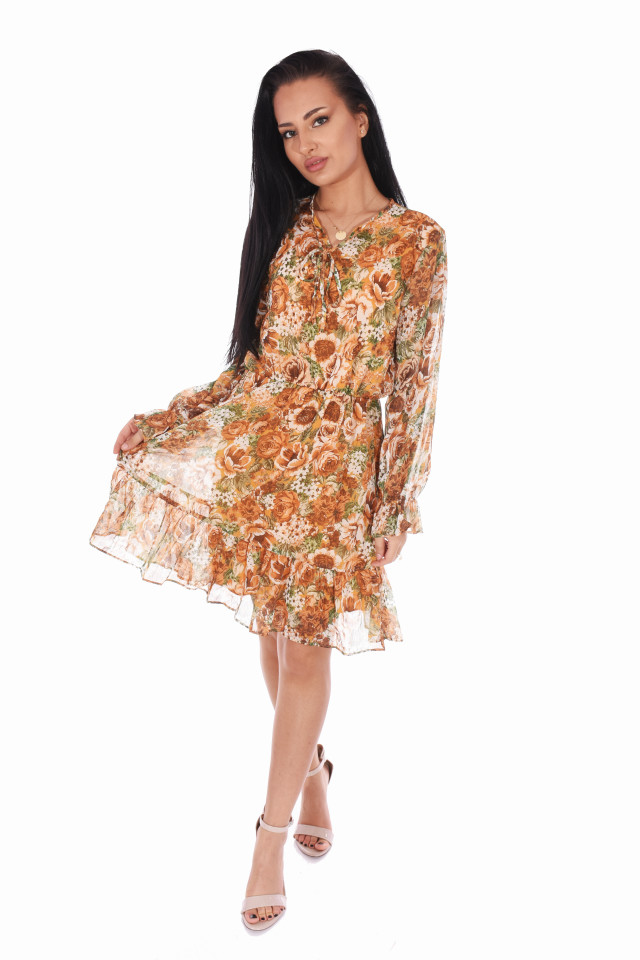 Rochie din voal cu imprimeu floral- galben-E