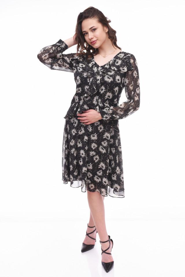 Rochie midi eleganta cu volane si imprimeu floral Isabel- negru-