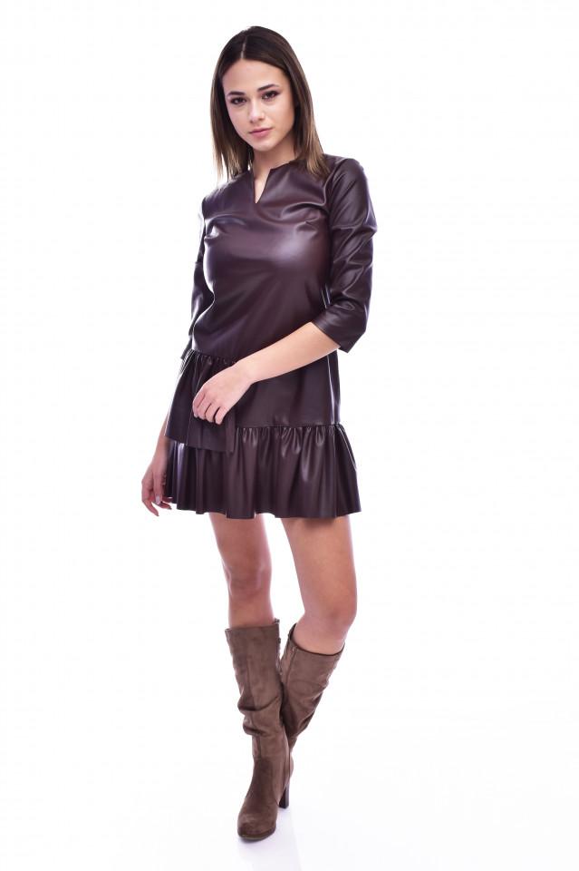 Rochie mini din piele ecologica cu volane - maro