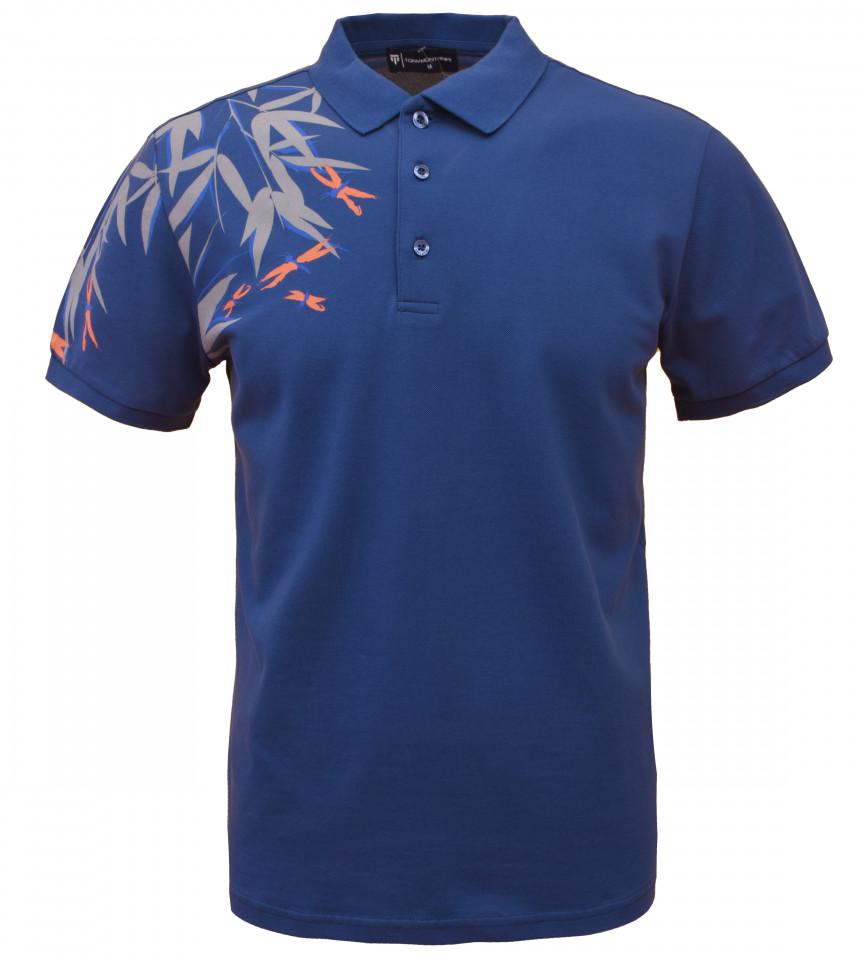 Tricou Polo Barbati Regular Fit Tony Montana- Leaf -albastru