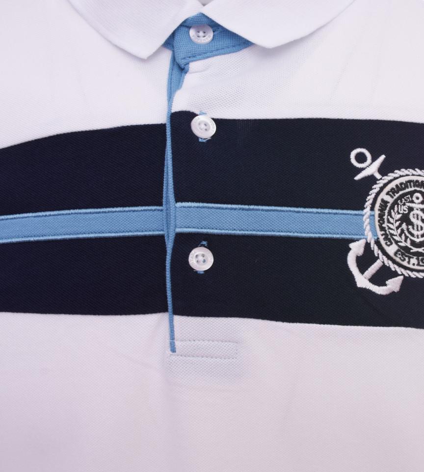 Tricou Polo Barbati Regular fit Tony Montana - Sailor-alb
