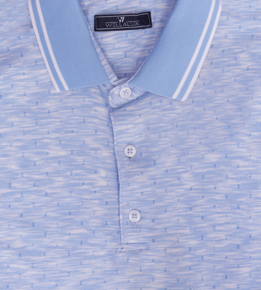 Tricou Polo Barbati Regular Fit Wellalux cu imprimeu - bleo