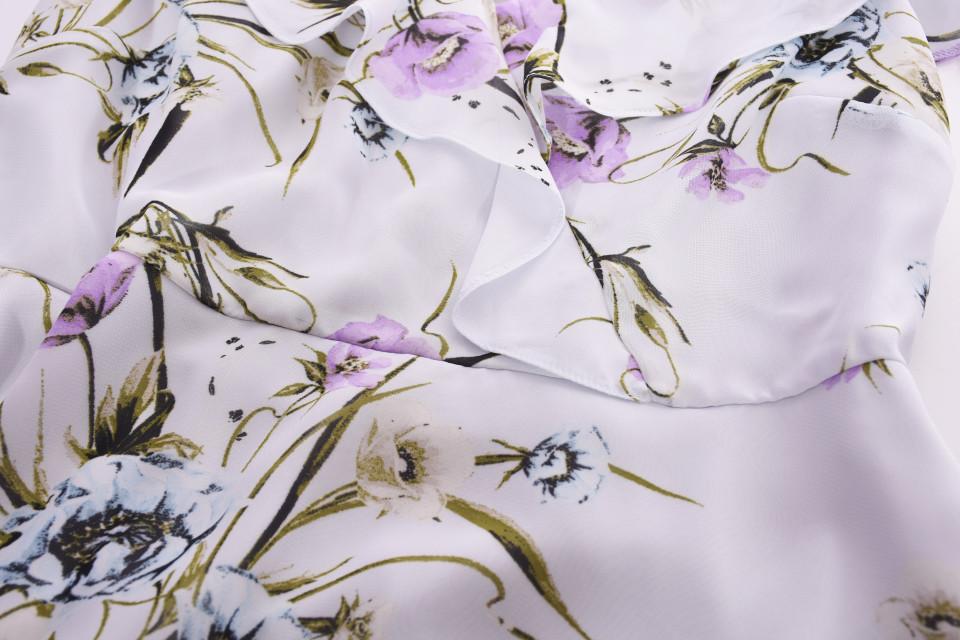 Bluzacu imprimeu floral si volane Petite