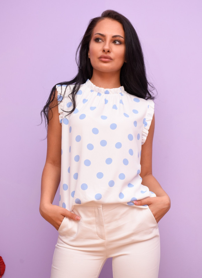 Bluza alba cu buline Petite