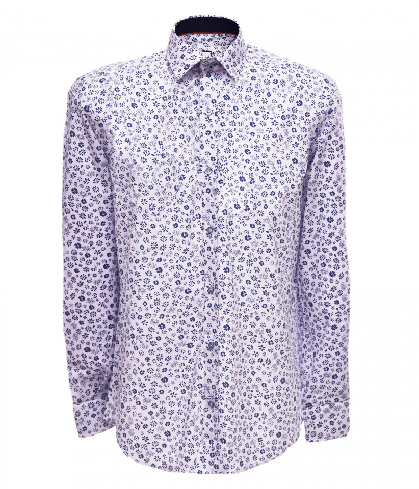 Camasa barbati cu imprimeu floral- alb & bleumarin-