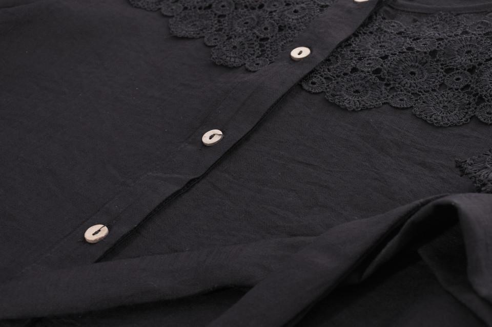 Camasa cu broderie si tull -negru-