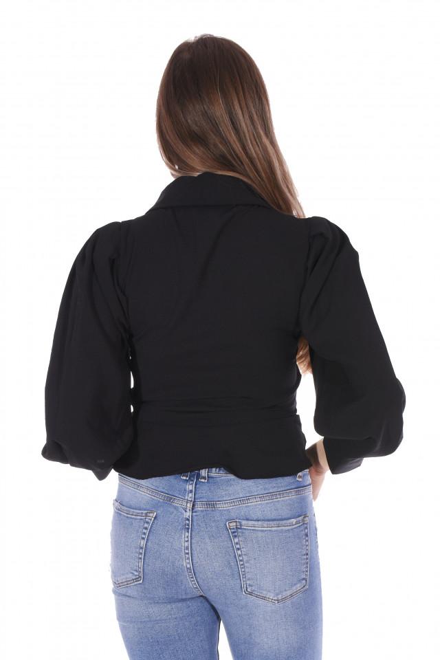 Camasa eleganta cu maneci bufante-negru-E