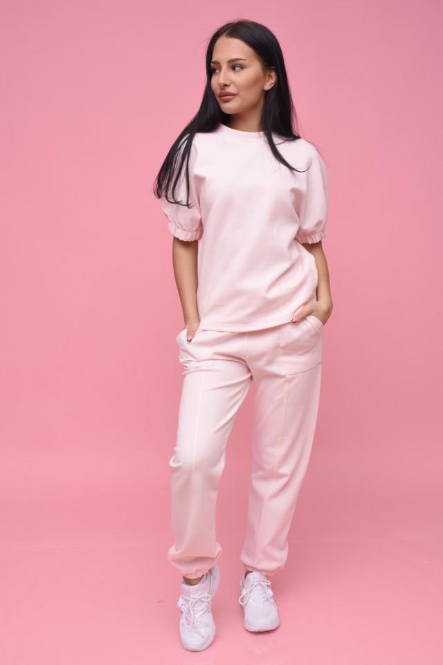 Compleu dama Karol din doua piese din tricot roz prafuit