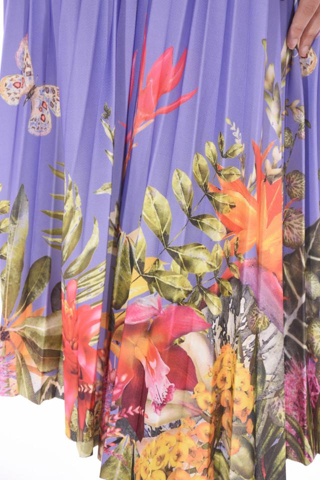 Fusta midi plisata cu imprimeu floral