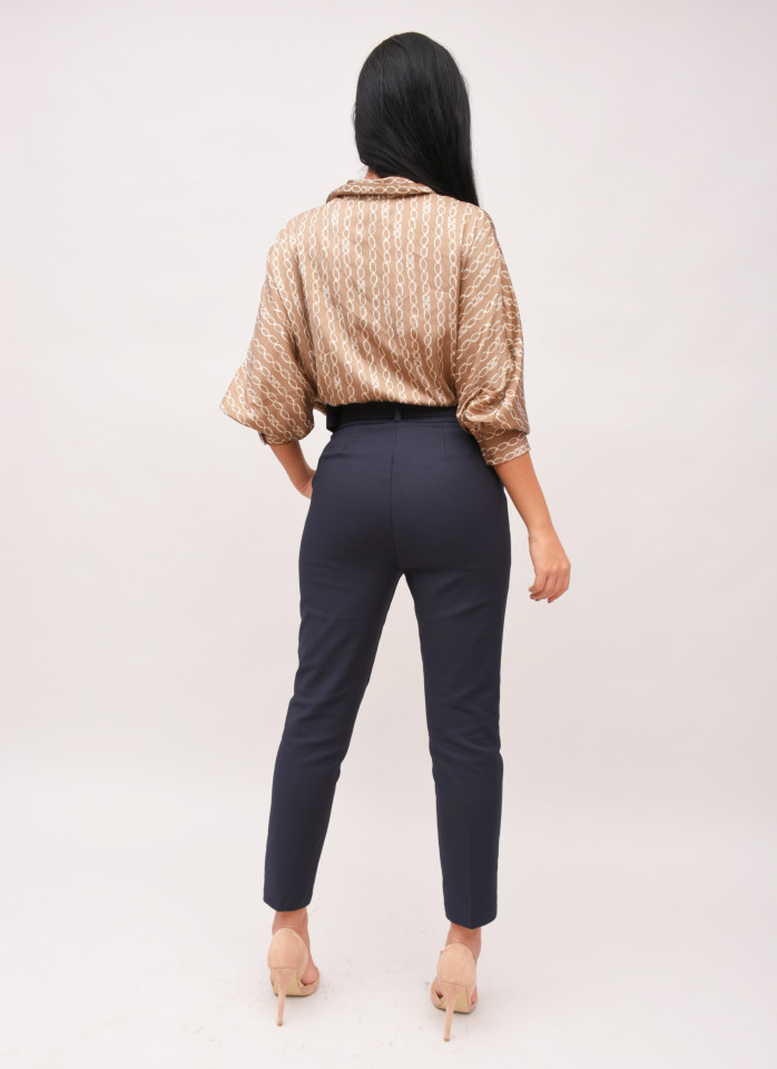 Pantalon bleumarin chinos cu talie inalta