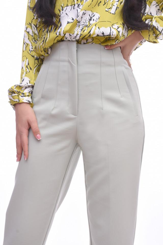 Pantaloni dama chino cu talie inalta- gri