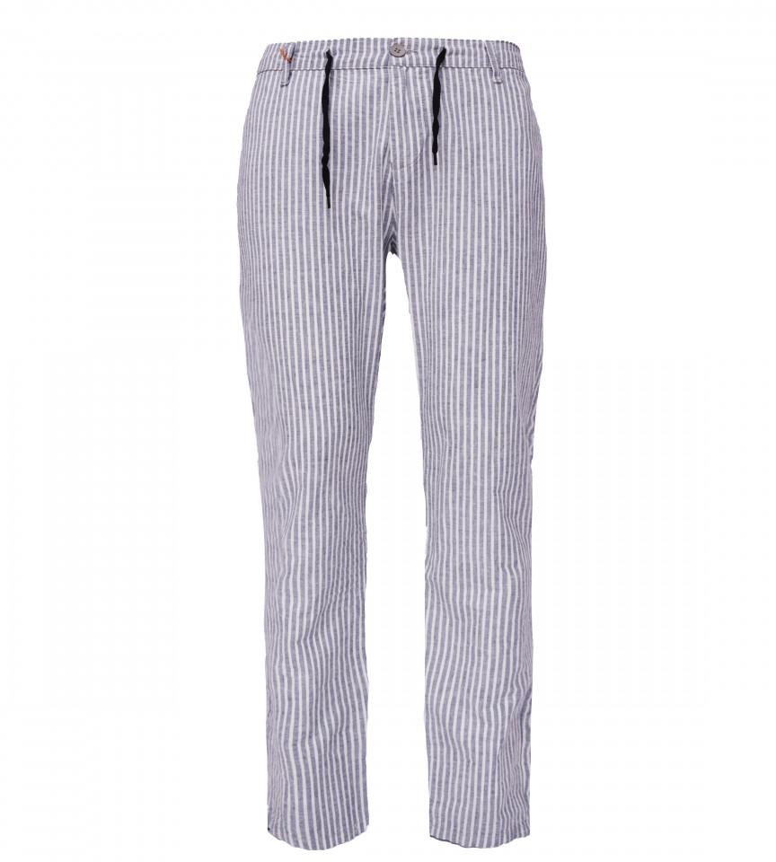 Pantaloni din in cu dungi bleumarin