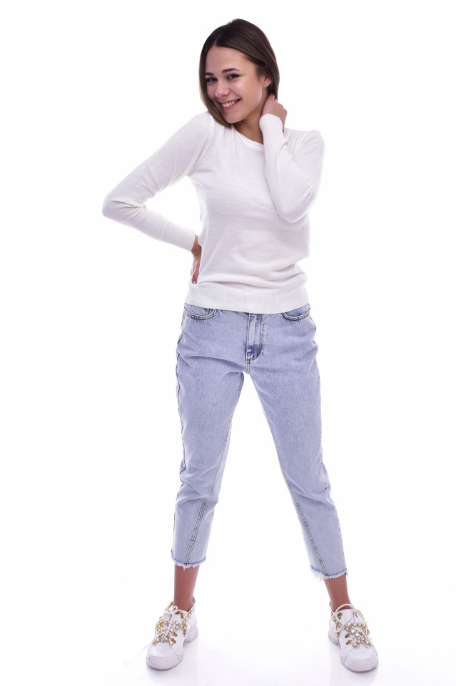 Pulover subtire din tricot fin - alb