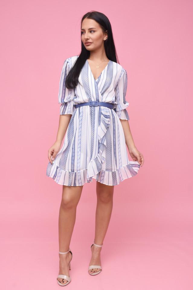 Rochie eleganta din voal cu volane si imprimeu albastru