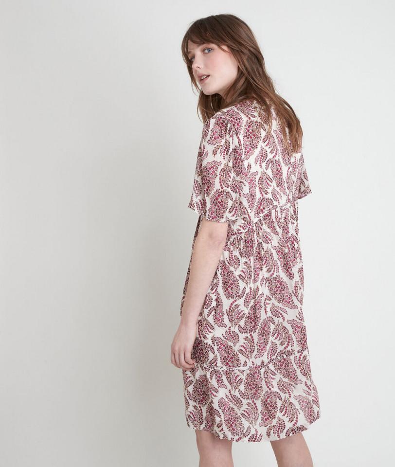 Rochie midi din vascoza cu imprimeu si nasturi