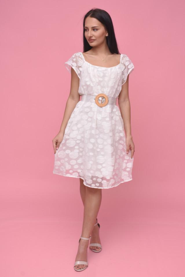 Rochie midi eleganta alba din voal cu buline