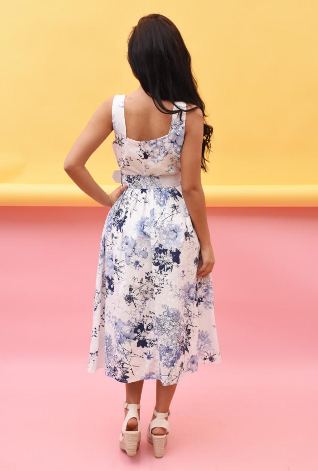 Rochie midi eleganta cu imprimeu floral -Penelope-