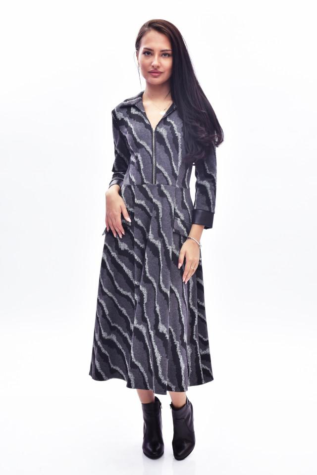 Rochie midi eleganta cu imprimeu - gri inchis