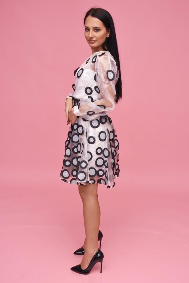 Rochie midi eleganta din organza cu buline Jessica - alba-
