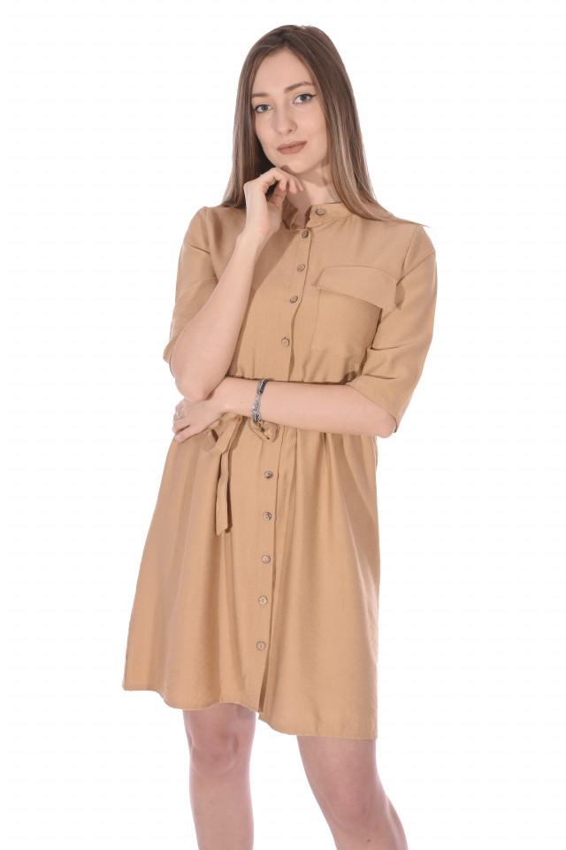 Rochie tunica cu cordon- bej-