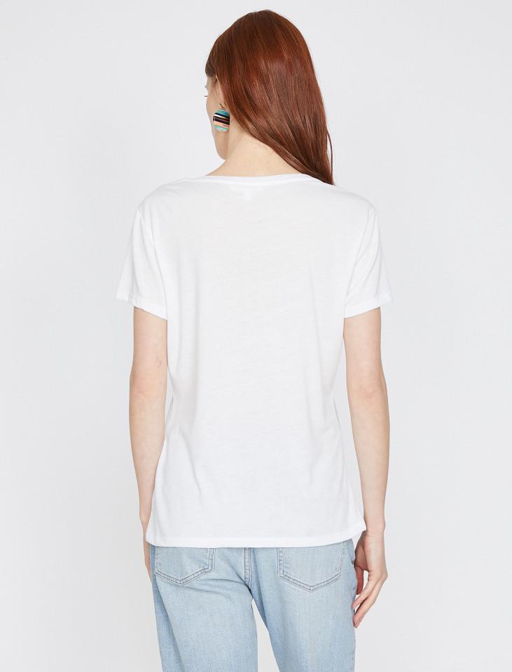 Tricou dama casual cu imprimeu - alb