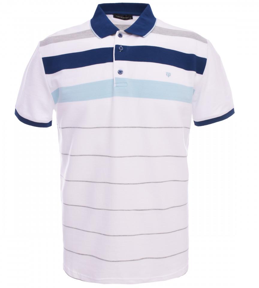 Tricou Polo Barbati Regular fit Tony Montana cu dungi - alb/bleumarin