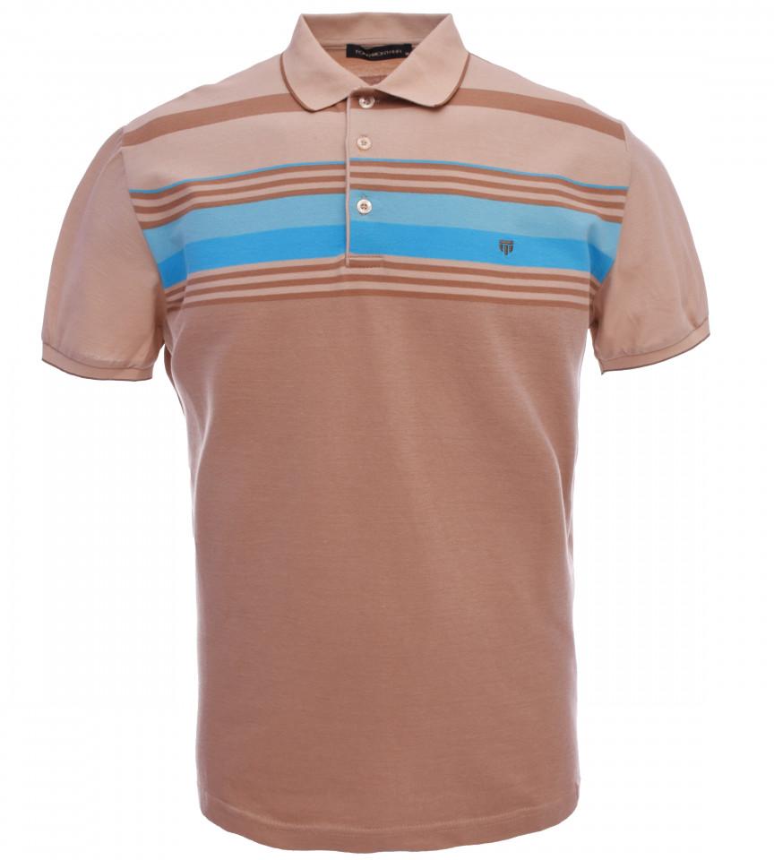 Tricou Polo Barbati Regular fit Tony Montana cu dungi - maro/albastru