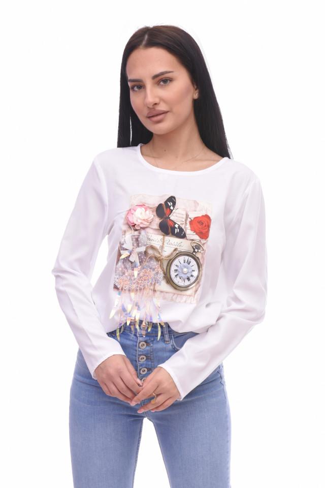 Bluza casual cu imprimeu si aplicatii