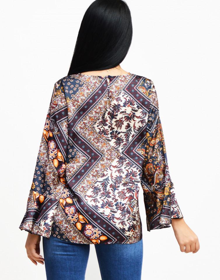 Bluza cu imprimeu satinata -E