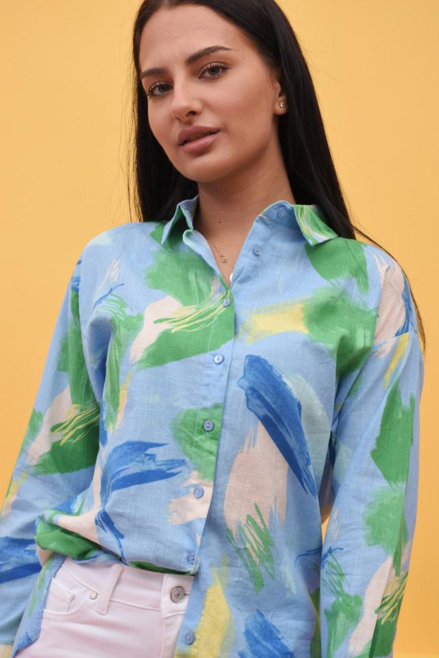 Camasa dama Karol stil cu imprimeu multicolor